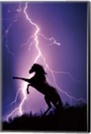 Lightning And Silhouette Of Horse Wall Poster