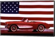 Corvette, 1957 - Us Flag Wall Poster