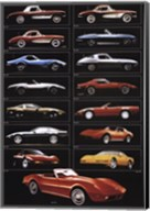 Corvette 15 Models Wall Poster