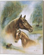 Brown Mare And Fowl Fine-Art Print