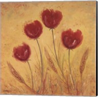 Red Tulips and Wheat Fine-Art Print