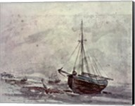 Coast Scene With Ships Fine-Art Print