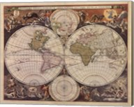 New World Map, 17th Century Fine-Art Print