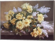 Still Life of Yellow Roses with Lilacs Fine-Art Print