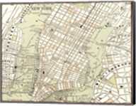 Sepia Map Of New York Fine-Art Print