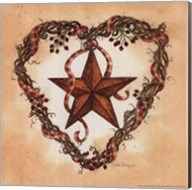 Barn Star with Heart Wreath Fine-Art Print