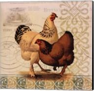 Chickens & Scrolls I Fine-Art Print