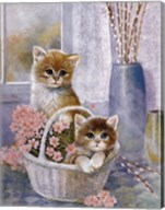 Flower Basket with Cats Fine-Art Print