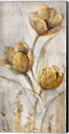 Golden Poppies on Taupe I Fine-Art Print