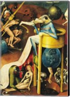 The Garden of Earthly Delights: Hell, right wing of triptych, detail of blue bird-man on a stool, c.1500 Fine-Art Print