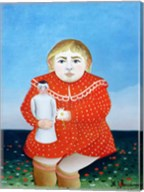 The girl with a doll Fine-Art Print