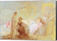 Interior at Petworth House with people in conversation, 1830 Fine-Art Print