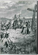 Jacques Cartier Setting up a Cross at Gaspe Fine-Art Print