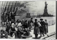 New York - Welcome to the land of freedom - An ocean steamer passing the Statue of Liberty Fine-Art Print