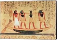 Papyrus depicting a man being transported on a barque to the afterlife Fine-Art Print