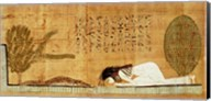 Funerary papyrus depicting the deceased prostrate in front of the crocodile Fine-Art Print