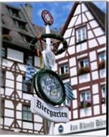 Beer Garden Sign, Franconia, Bavaria, Germany Fine-Art Print