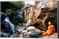 Buddhist Monk In Mae Klang Waterfall Fine-Art Print