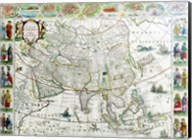 Close-up of the map of Asia, Joan Bleau, 1630 Fine-Art Print