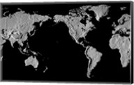Close-up of a world map - black Fine-Art Print