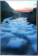 River flowing around rocks at sunrise, Sunrift Gorge, US Glacier National Park, Montana, USA Fine-Art Print
