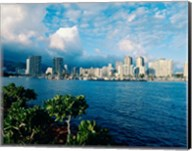 Buildings on the waterfront, Waikiki Beach, Honolulu, Oahu, Hawaii, USA Fine-Art Print