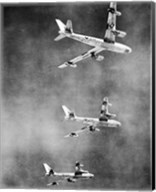 Low angle view of three fighter planes in flight, B-47 Stratojet Fine-Art Print