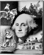 George Washington's face superimposed over a montage of pictures depicting American history, USA Fine-Art Print