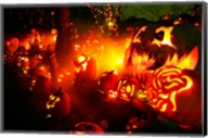 Jack o' lanterns lit up Roger Williams Park Zoo, RI Fine-Art Print