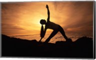 Silhouette of a young woman practicing yoga, Haleakala, Maui, Hawaii, USA Fine-Art Print