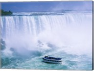 High angle view of a tourboat in front of a waterfall, Niagara Falls, Ontario, Canada Fine-Art Print