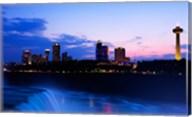 Waterfall with buildings lit up at dusk, American Falls, Niagara Falls, City of Niagara Falls, New York State, USA Fine-Art Print