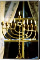 Close-up Of Lit Candles On A Menorah And Window Fine-Art Print