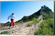 Person running up the Great Wall, Simatai, Beijing, China Fine-Art Print