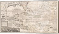 1732 Herman Moll Map of the West Indies, Florida, Mexico, and the Caribbean Fine-Art Print