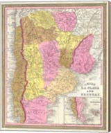 1846 Burroughs - Mitchell Map of Argentina, Uruguay, Chili in South America Fine-Art Print