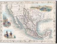 1851 Tallis Map of Mexico, Texas, and California Fine-Art Print