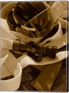 Close-up of a firefighter's helmet on a fire hose Fine-Art Print