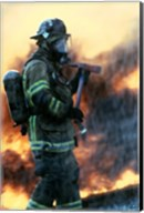 Firefighter at a rescue operation Fine-Art Print