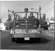 Fire engine on road Fine-Art Print