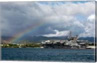US Navy, A Rainbow Arches Near the Aircraft Carrier USS Kitty Hawk Fine-Art Print