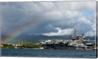 US Navy, A Rainbow Arches Near the Aircraft Carrier USS Kitty Hawk Fine-Art Print