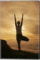 Silhouette of a young woman exercising, Haleakala National Park, Maui, Hawaii, USA Fine-Art Print