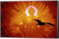 Image of a flower and bird superimposed on a person meditating Fine-Art Print