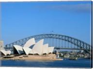 Opera house on the waterfront, Sydney Opera House, Sydney Harbor Bridge, Sydney, Australia Fine-Art Print
