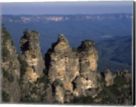 High angle view of rock formations, Three Sisters, Blue Mountains, New South Wales, Australia Fine-Art Print