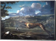 Pace, Michelangelo, Greyhound, rabbit, and the Castle of Ariccia Fine-Art Print