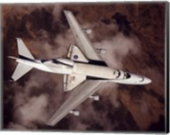 B747 with Space Shuttle on it from Above Fine-Art Print