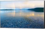 Reflection of a rainbow in a lake, Lake Khovsgol, Sayan Mountains, Russian-Mongolian border Fine-Art Print