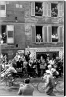 People watching the cyclists being provisioned. Tour de France 1958. Fine-Art Print
